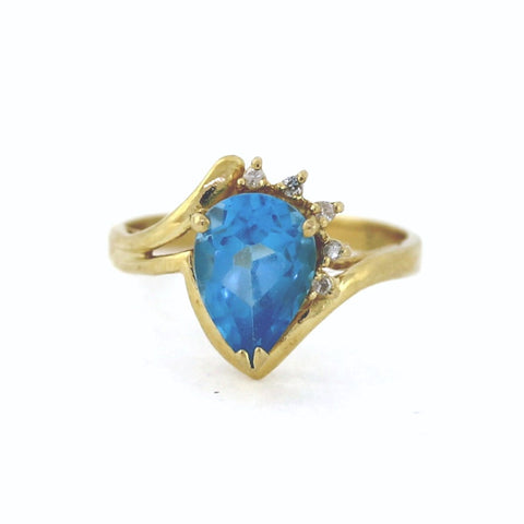 Estate Pear Shape Blue Topaz 4 Round Brilliant = .03 3.0gr 14K Yellow Gold Lady's Ring LR3001