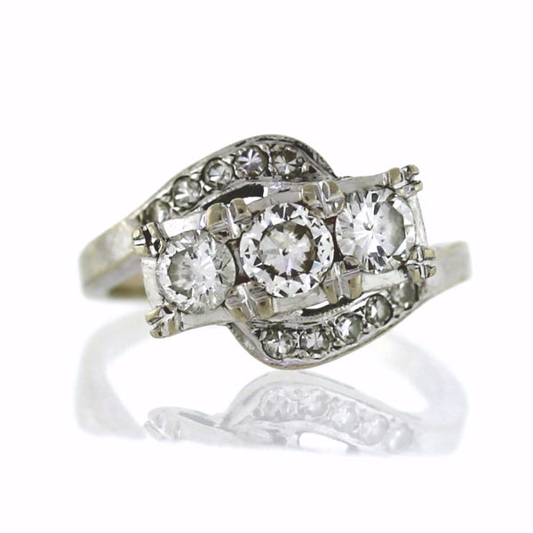 Estate Vintage Bypass Ring 1.20ctw 14K White Gold Lady's Ring LR3008