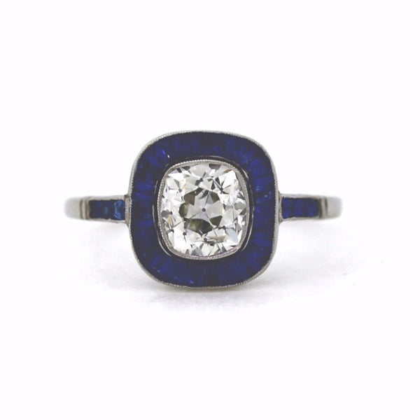 1 Old Mine Cut = 1.36ct H SI2 Sapphire .98ctw Platinum Lady's Ring LR3017