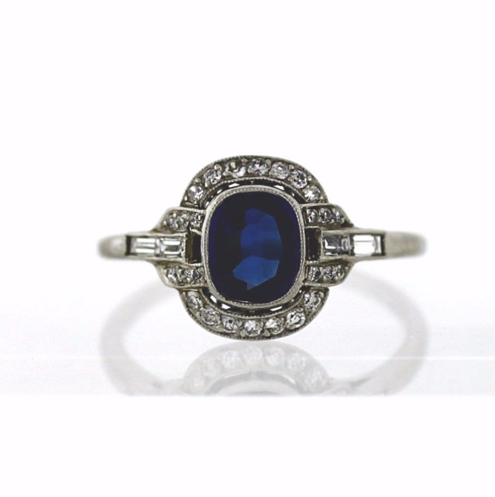 1 Sapphire = 1.04 4 Straight Baguette = .16 26 Old European Cut = .26 Platinum Lady's Ring LR3035