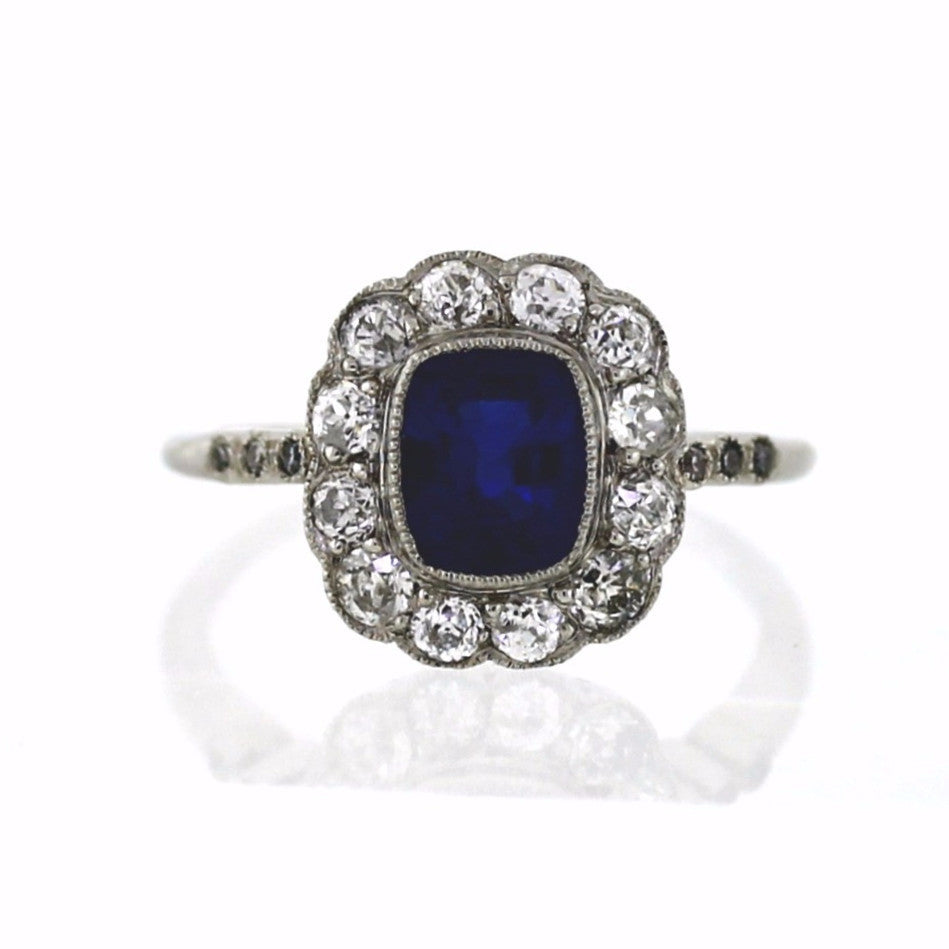 Estate 1 Sapphire = 1.25 18 Old European Cut = .90 Platinum Lady's Ring LR3036