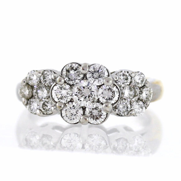 Estate 19 Round Brilliant = 1.50ctw 5.2gr 3 Flower Clusters 14K Yellow Gold Lady's Ring LR3045