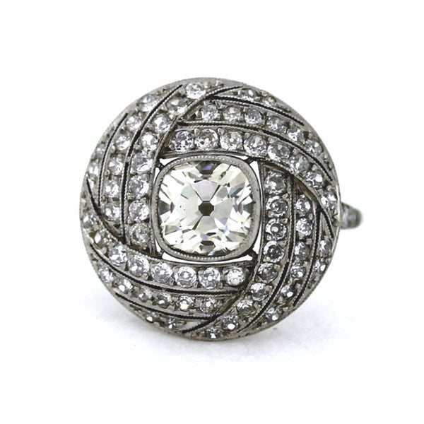 Center 1.50 Antique Cushion European Cuts = 1.20ctw Approx. Platinum Lady's Ring LR3049