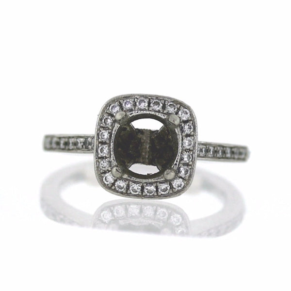 Estate 48 Round Brilliant = .50cts Halo 5.6gr Approx. Weights Platinum Lady's Ring LR3065