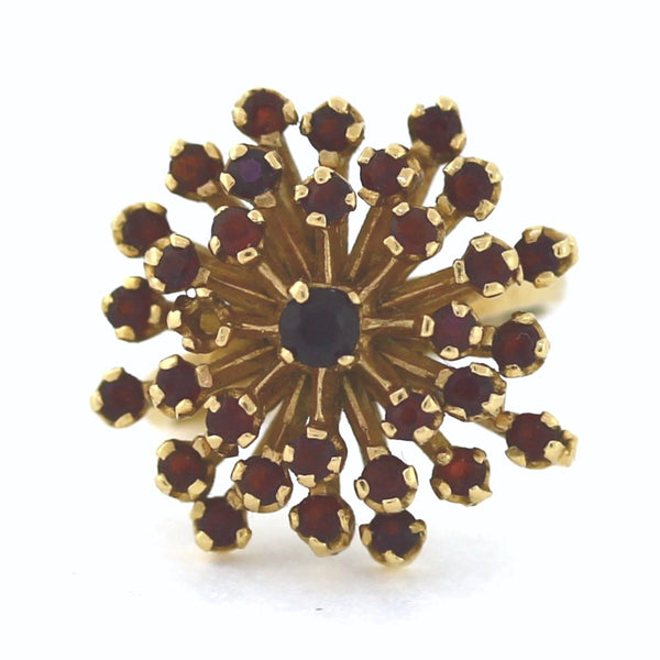 Estate Garnet cluster 9.1gr 14K Yellow Gold Lady's Ring LR3082