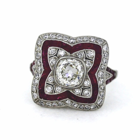 Center 1 Old Mine Cut = 1.58ct I SI2 Ruby & Diamond Platinum Lady's Ring LR3107