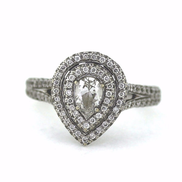 "Estate ""Neil Lane"" Pear Shape = .50 Approx. 236 Round Brilliant = 1.20 App. 4.0gr 14K White Gold Lady's Ring LR3111"
