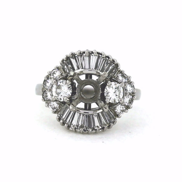 Estate 10 Round Brilliant 20 Tapered Baguette = 1.80ctw Approx. 9.3gr Platinum Lady's Ring LR3122