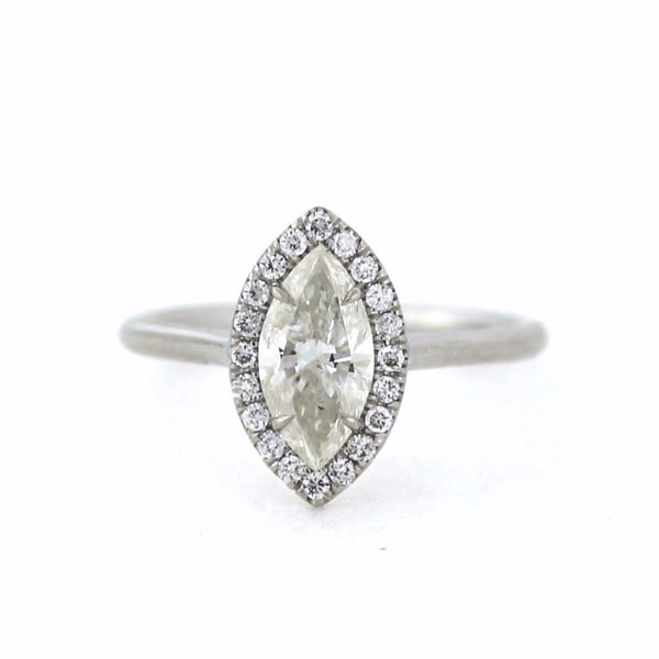 20 Round Brilliant = .16ctw 1 Marquise = 1.00ct 18K White Gold Lady's Ring LR3133