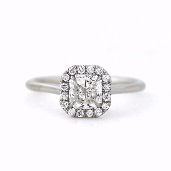 16 Round Brilliant = .13ctw 1 Radiant Cut = 1.02ct 18K White Gold Lady's Ring LR3134