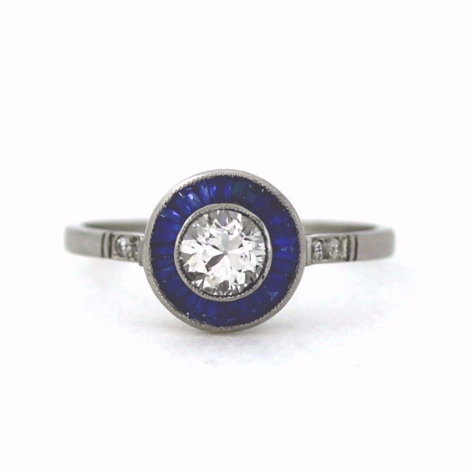 Sapphire & 1 Old European Cut = 0.57ct 2.74gr Platinum Lady's Ring LR3142