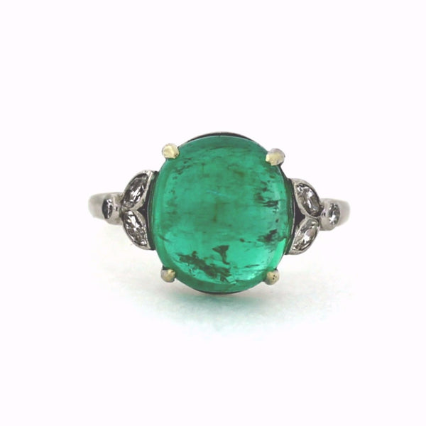 6.07 Cabochon Emerald 4 Marquise = .30 2 Round Brilliant = .08 Platinum Lady's Ring LR3158