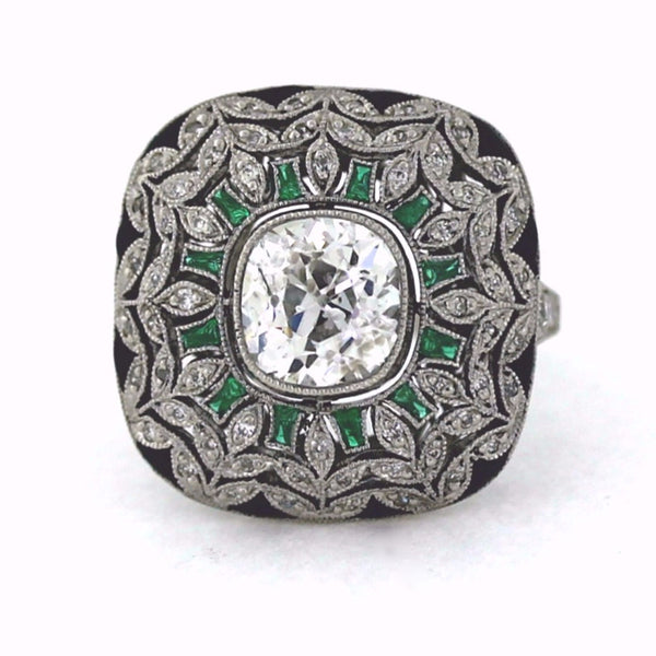1 Old European Cut = 2.05ct Approx .50ctw Emerald & Onyx 8.5gr Platinum Lady's Ring LR3165