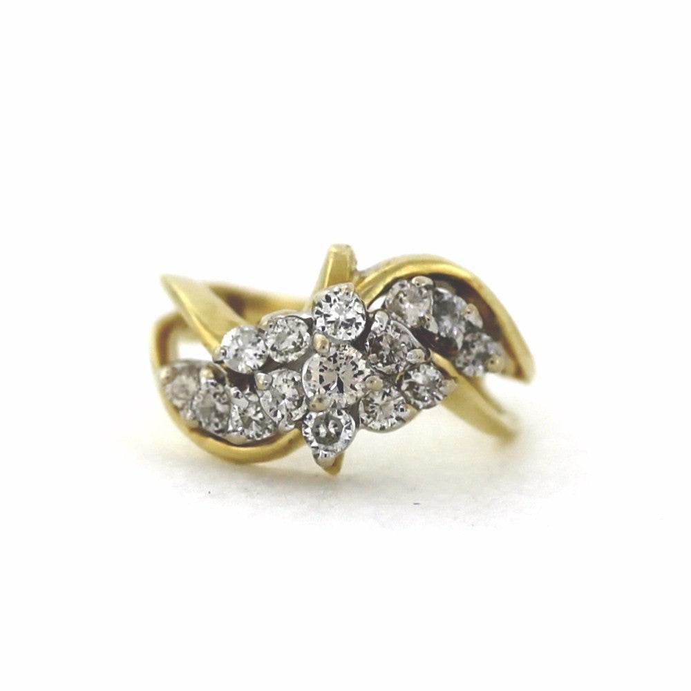 Estate 15 Round Brilliant = 1.00ctw 4.8gr Waterfall Two Tone 14K Gold Lady's Ring LR3180