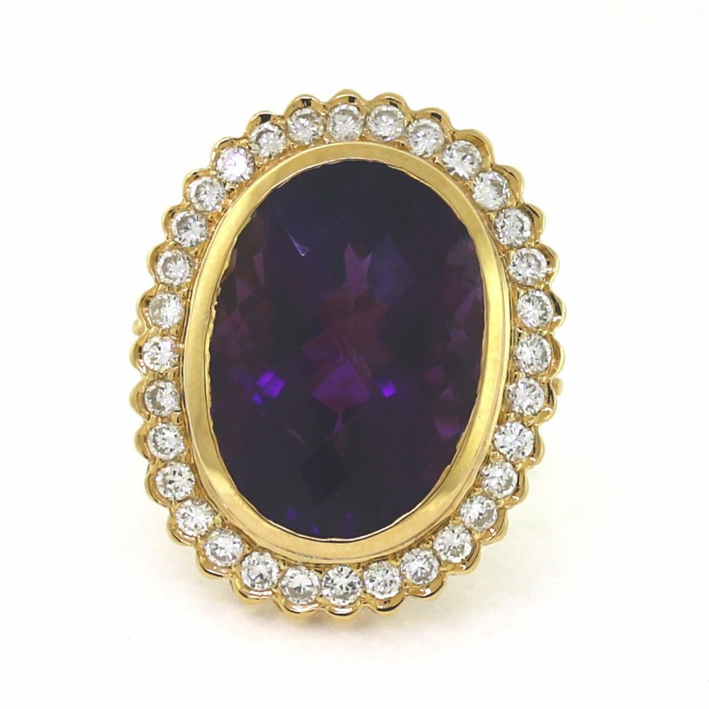 Estate Faceted Amethyst 15ct 32 Round Brilliant = 1.60 19.4gr 14K Yellow Gold Lady's Ring LR3184