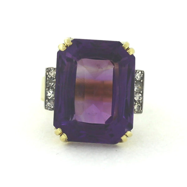 Estate Amethyst 27cts 8 Single Cut = .32cts 15.7gr Platinum & 14K Gold Lady's Ring LR3185