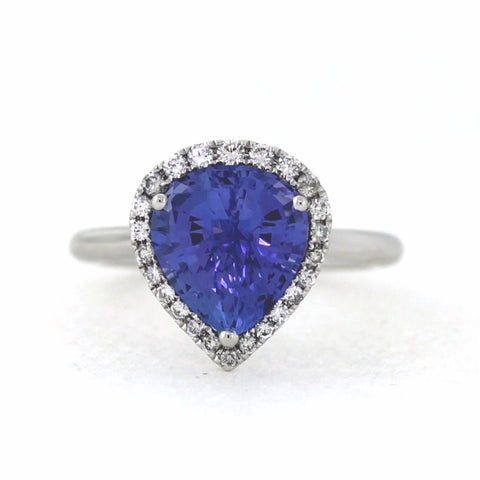 Pear Shape Checkerboard Tanzanite 4.37ct 2 Round Brilliant = 0.37 5.13gr 18K White Gold Lady's Ring LR3257
