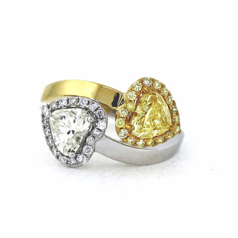 1 Heart Shape = 1.01ct Fancy YellowI GIA 1 Heart Shape = 1.02ct I SI1 AGS 18 Round Brilliant = 0.19ct Fancy Yellow 18 Round Brilliant = .18 6.8gr Two Tone 18K Gold Lady's Ring LR3259