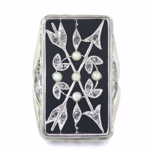 Estate Crossed Arrows set w/ Rose Cut Diamond Pearls & Onyx 15.1gr Stamped 1578 18K White Gold Lady's Ring LR3265
