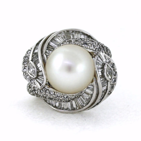 Estate 56 Round Brilliant Diamonds -30 Tapered Baguettes - 2 Marquise Cut Diamond = 2.64ctw 12.7mm PEARL, 14K White Gold Ring LR3276