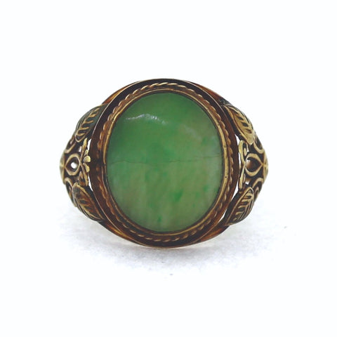 Estate Vintage Oval Jade 3.6gr, 14K Yellow Gold Ring LR3281