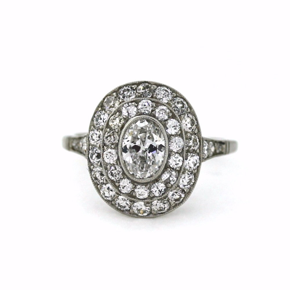 1 Oval Cut Diamond = 0.67ct European Cut Diamonds = 1.15 4.57gr, Platinum Ring LR3345