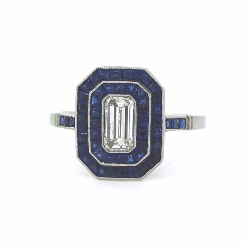 1 Emerald Cut Diamond = 0.75ct Sapphire = 2.00ctw 4.45gr, Platinum Ring LR3378