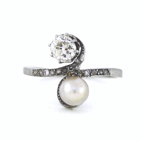 Estate Pearl 5.7mm Old Mine Cut Diamonds .50ct Single cut and Simulant side stones 4.0gr, Platinum Ring LR3443