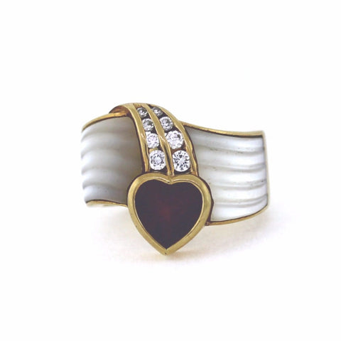 Estate HS Garnet 8 Round Brilliant Diamonds = .40ctw Mother of Pearl 12.2gr, 14K Yellow Gold Ring LR3461
