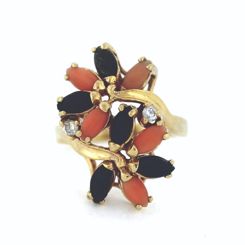 Estate Pink & Black Coral 2 Round Brilliant Cut Diamonds = .05 6.2gr, 14K Yellow Gold Ring LR3468