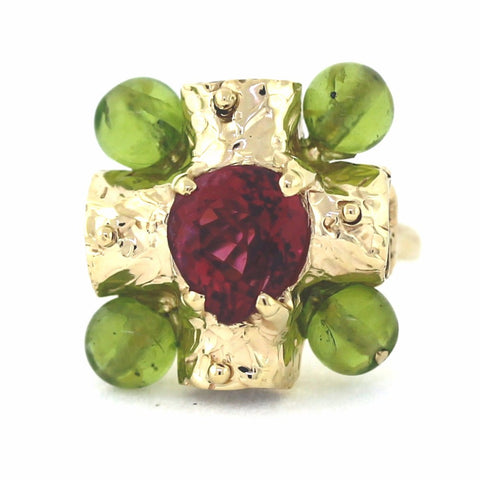 Pink Tourmaline & Peridot 19.06gr, 14K Yellow Gold Ring LR3486