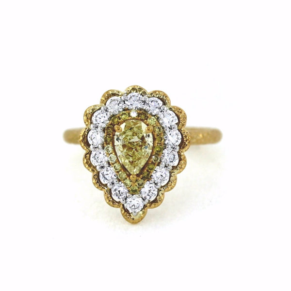 .73 Pear Shape Diamond Fancy Yellow VVS1 GIA, .85cts, 5.5g, 18K Yellow Gold Ring LR3501