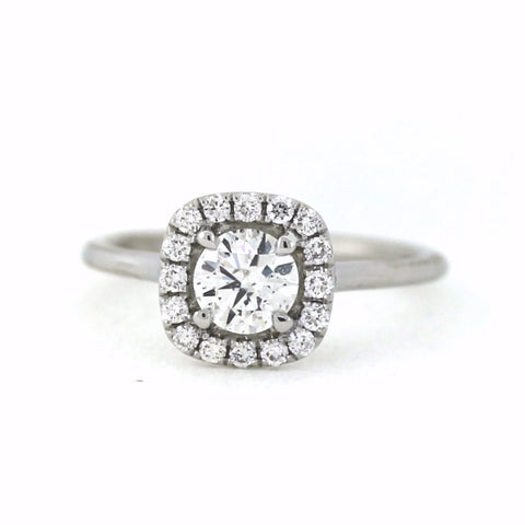 .22cts & .692 Round Brilliant Cut F SI3 , 18K White Gold Lady's Ring LR3509, D17256