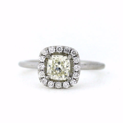 .22cts & 1.00 Cushion Cut Diamond J K VS1, 18K White Gold Lady's Ring LR3519, D15787