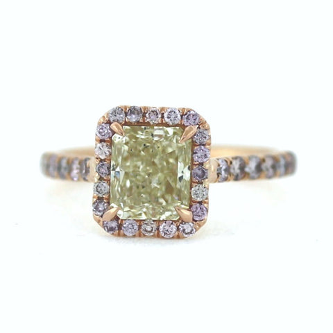 14 Fancy Pink Round Brilliant Cut Diamonds = .38ct, 2.01 Fancy Yellow SI1 Radiant Cut, 4.48g, 18K Rose Gold Ring LR3537