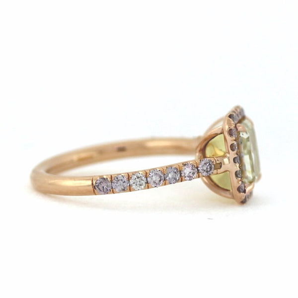 14 Fancy Pink Round Brillinat Cut Diamonds =.38ct, 2.00 Fancy Yellow SI1 Radiant Cut, 4.49g, 18K Rose Gold Ring LR3538