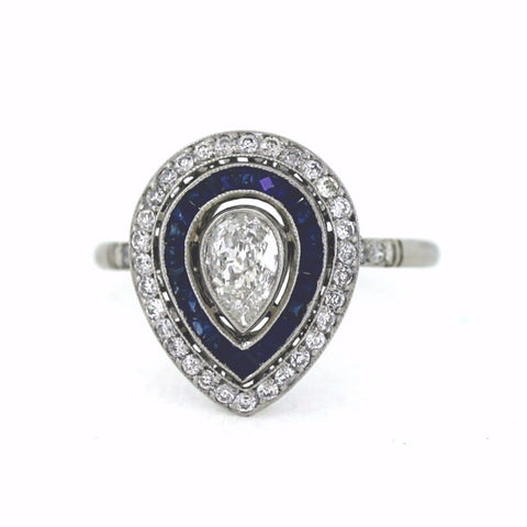.34ct G VS1 Pear Shape Diamond, .28 ctw Diamond and Sapphire Accents, Platinum Ring LR3556