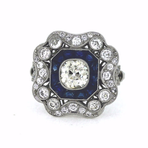 .95ct K SI2 European Cut Diamond, 1.20ctw Diamond and Sapphire Accents, Platinum Ring LR3557