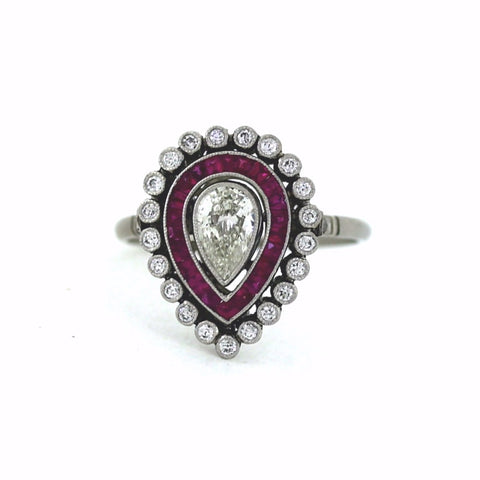.46ct H SI2 Pear Shape, .26ctw Diamond .40ctw Rubies, Platinum Ring LR3565