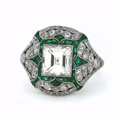 2.12ct I VS1 Square Cut Diamond, .72ctw Diamond and Emerald Accents, Platinum Ring LR3566