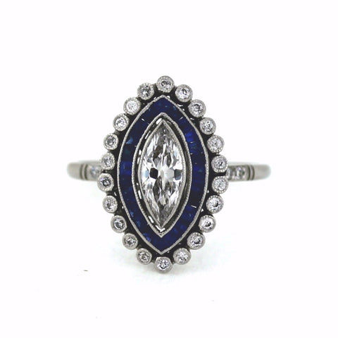 .51ct H VS2 Marquise Cut Diamond, .23ctw Diamond and .43ctw Sapphire Accents, Platinum Ring LR3568