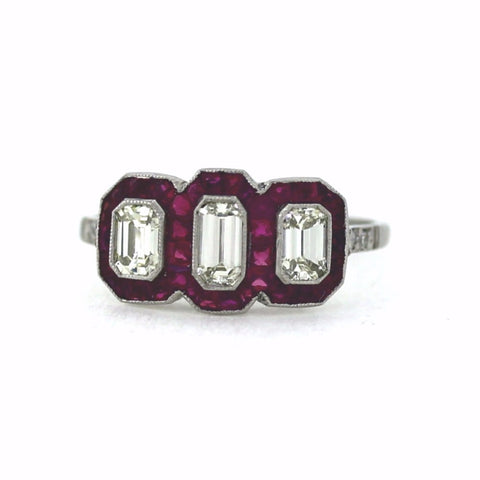 3 L VS1 Emerald Cut Diamonds = 0.71ct, .70ctw Diamond and Ruby Accents, Platinum Ring LR3570
