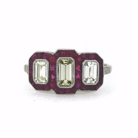 3 L VS1 Emerald Cut Diamonds = .92ct, .80ctw Diamond and Ruby Accents, Platinum Ring LR3571