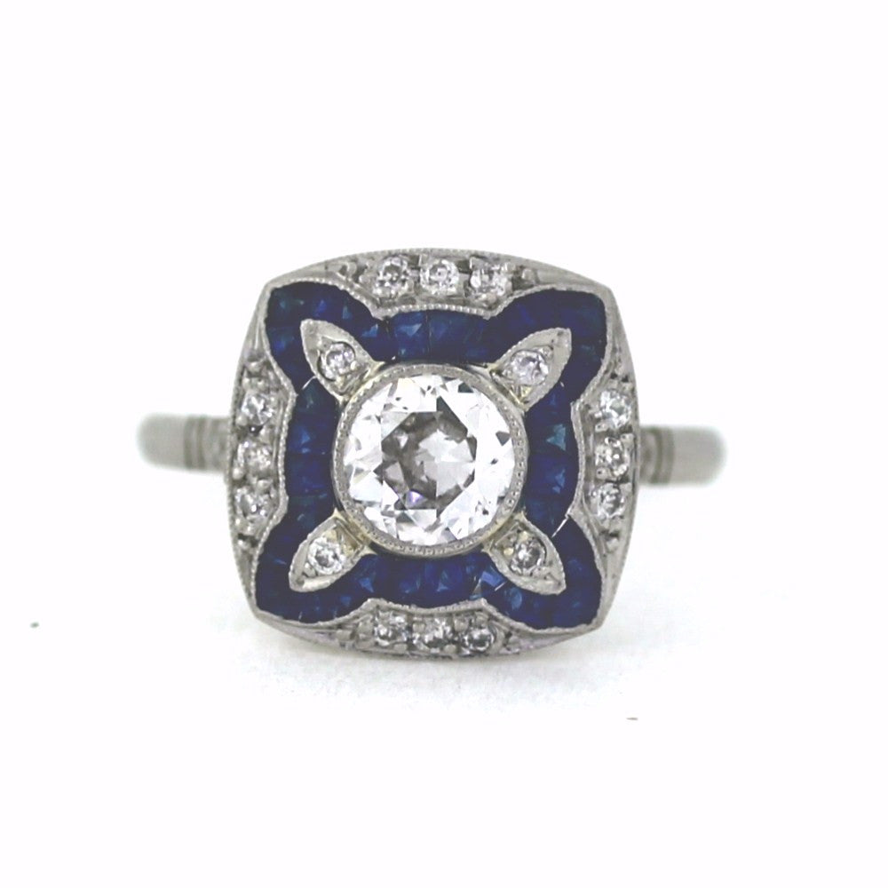.71ct H SI1 European Cut Diamond, .16ctw Diamond and Sapphire Accents, Platinum Ring LR3572