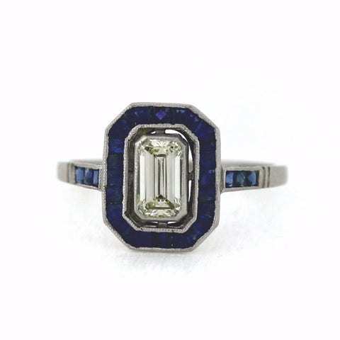 .68ct Fancy Yellow Light VS1 Emerald Cut Diamond = Sapphire Halo 3.09gr, Platinum Ring LR3575