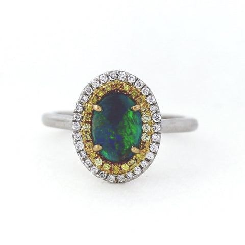 .80 ct Black Opal with 24 Round Fancy Yellow Intense SI1 Diamonds = 0.12 ct 30 = 0.14 ct G VS1 3.9gr 14K Two Tone Gold Lady's Ring LR3585