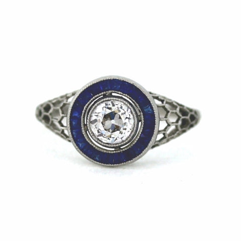 .72ct Old Mine Cut Diamond Sapphire Accents 3.26gr, Platinum Ring LR3592