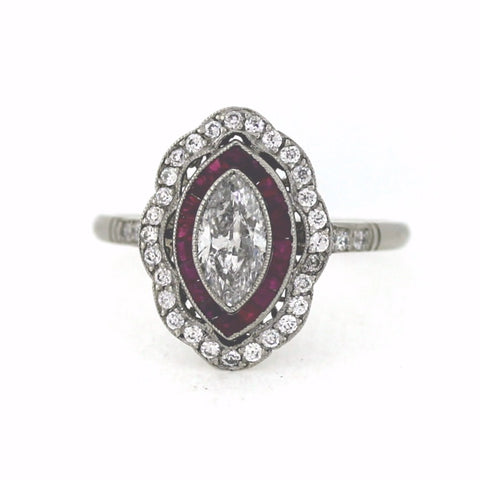 .70ct Marquise Cut Diamond, European Cut Diamond = .27, Ruby Accents 2.94gr, Platinum Ring LR3593