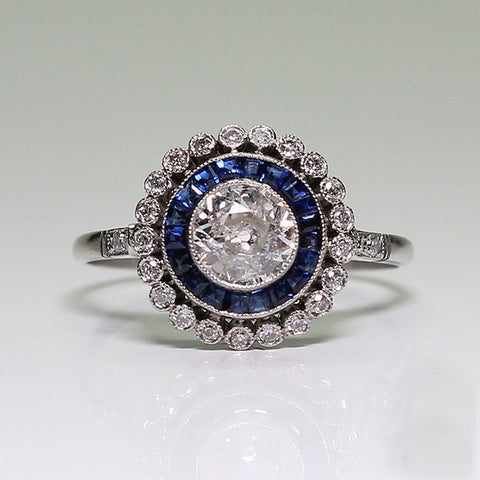 .56ct European Cut Diamond, .23ctw European Cut Diamond, .38ctw Sapphire Accents, 2.7gr, Platinum Lady's Ring LR3649