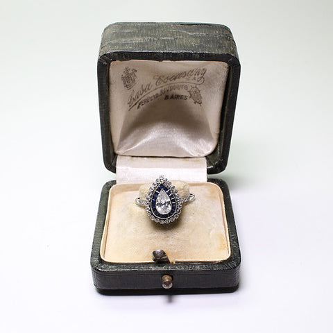 .45ct Pear Shape Diamond, European Cut Diamonds = .23, Sapphire Accents = .38 2.6gr, Platinum Lady's Ring LR3651